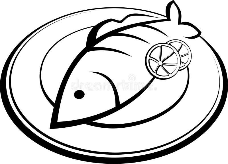 Ψάρια σε ένα πιάτο διανυσματική απεικόνιση
