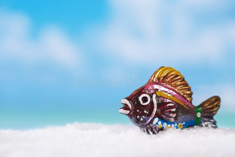 Ψάρια στην άσπρη παραλία, τον ωκεανό, τον ουρανό και το seascapee άμμου, στοκ εικόνες με δικαίωμα ελεύθερης χρήσης