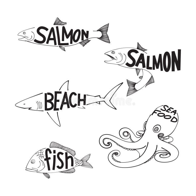 Ψάρια σχεδίων, διάνυσμα απεικόνιση αποθεμάτων