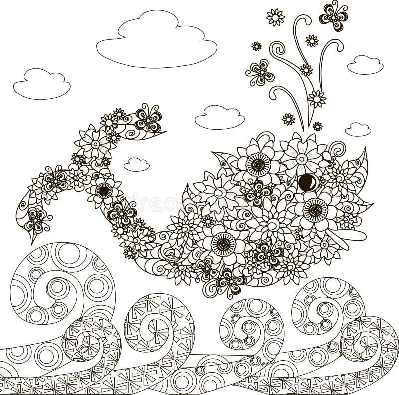 Ψάρια φαλαινών λουλουδιών, κύματα διακοσμήσεων για το χρωματισμό της σελίδας, αντιαγχωτικής ελεύθερη απεικόνιση δικαιώματος