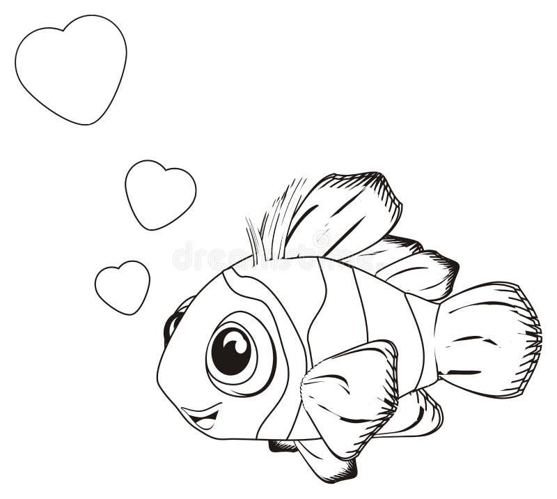 Ψάρια χρωματισμού ερωτευμένα ελεύθερη απεικόνιση δικαιώματος