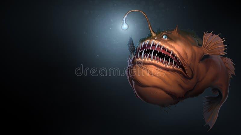 Ψάρια ψαράδων στο υπόβαθρο της σκούρο μπλε τέχνης απεικόνισης νερού ρεαλιστικής ελεύθερη απεικόνιση δικαιώματος
