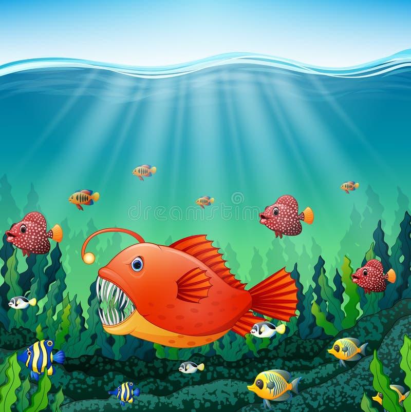 Ψάρια ψαράδων κινούμενων σχεδίων υποβρύχια διανυσματική απεικόνιση