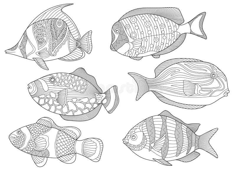 Ψάρια Zentangle απεικόνιση αποθεμάτων
