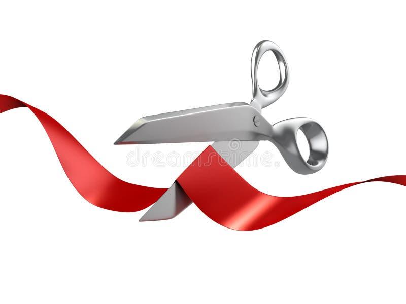 Ψαλίδι που κόβει την κόκκινη κορδέλλα ελεύθερη απεικόνιση δικαιώματος