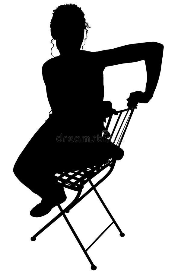 ψαλιδίζοντας γυναίκα συνεδρίασης σκιαγραφιών μονοπατιών απεικόνιση αποθεμάτων