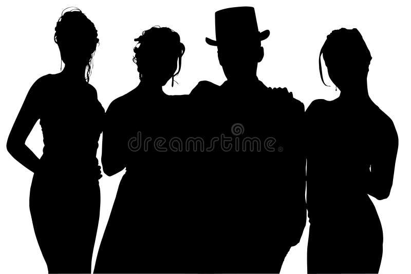 ψαλιδίζοντας επίσημη σκιαγραφία μονοπατιών ομάδας στοκ εικόνες