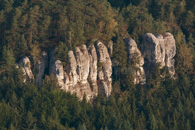 Ψαμμίτης πέτρες στην περιοχή του παραδείσου της Μποέμιαν και αεροφωτογραφία στοκ φωτογραφίες