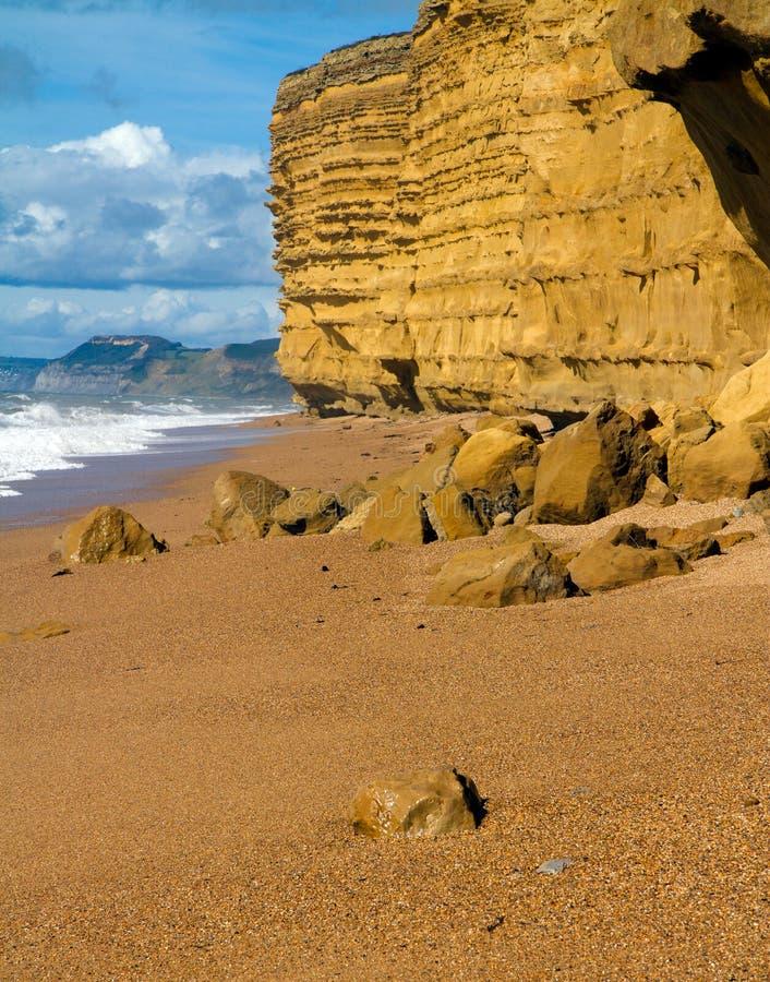 Ψαμμίτης στην παραλία Dorset Burton Bradstock στοκ φωτογραφίες με δικαίωμα ελεύθερης χρήσης