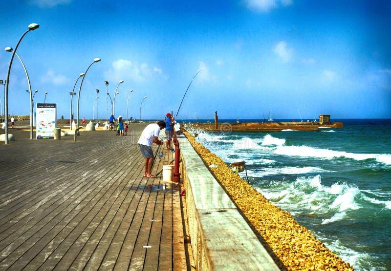 Ψαράδες στο λιμένα του Τελ Αβίβ στοκ εικόνα με δικαίωμα ελεύθερης χρήσης