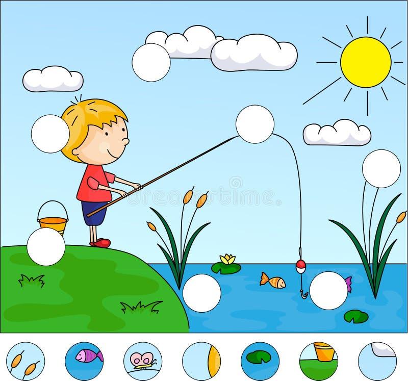 Ψαράς αγοριών με την αλιεία της ράβδου στη λίμνη πλήρης γρίφος διανυσματική απεικόνιση