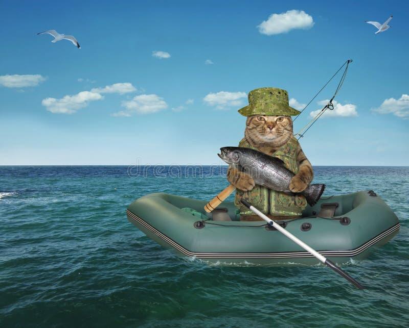Ψαράς γατών που παρασύρει σε μια λαστιχένια βάρκα στοκ φωτογραφία