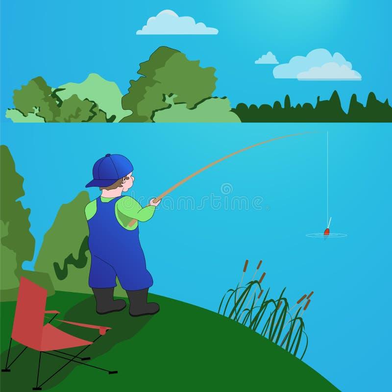 Ψαράς με μια ράβδο αλιείας στη λίμνη ελεύθερη απεικόνιση δικαιώματος