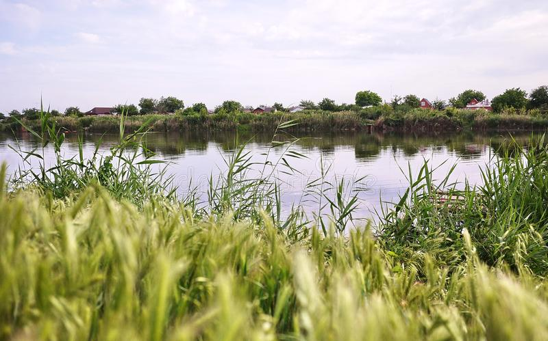 Ψαράς στον ποταμό με μια ράβδο αλιείας r στοκ φωτογραφία