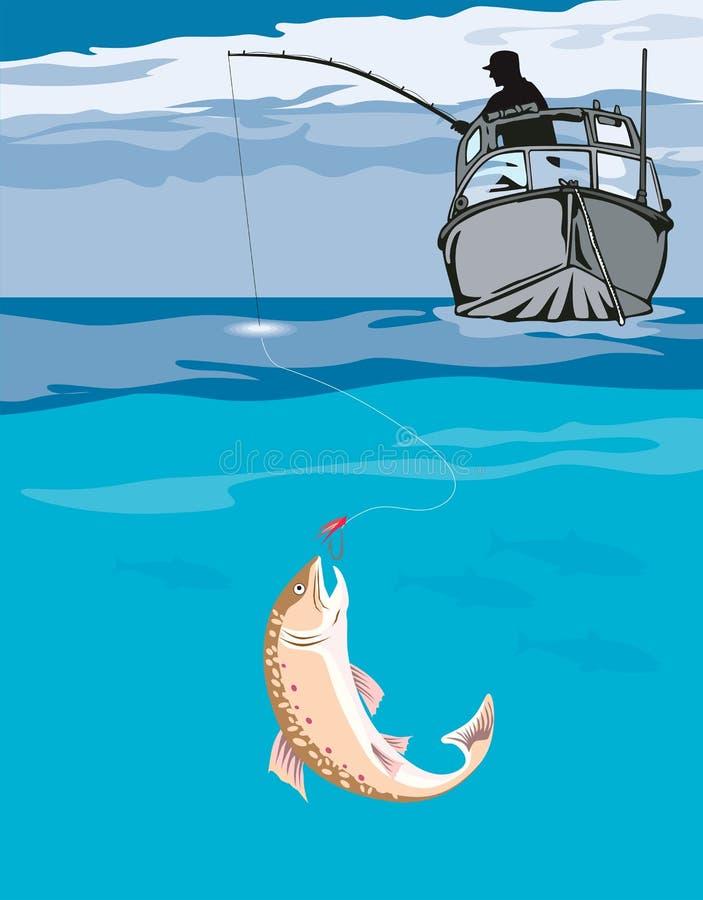 ψαράς σύλληψης αλιειών διανυσματική απεικόνιση