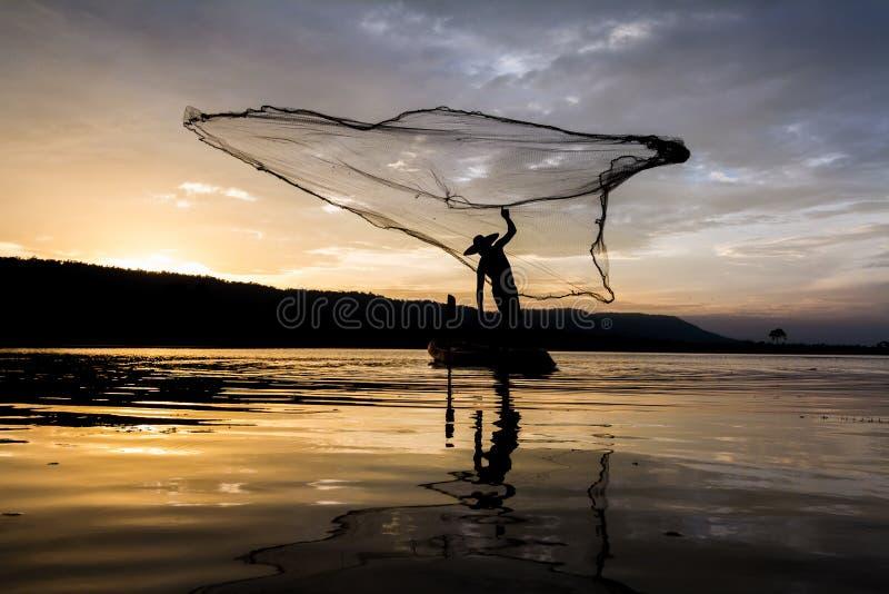 Ψαράς Ταϊλάνδη της Ασίας στοκ εικόνα