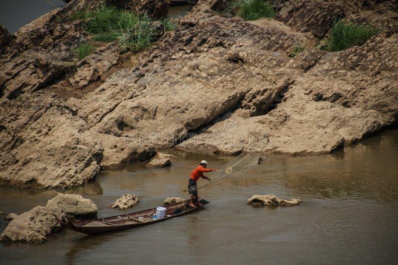 Ψαράς mekong σε Luang Prabang, επαρχία Luang Prabang, Λάος, στοκ εικόνες