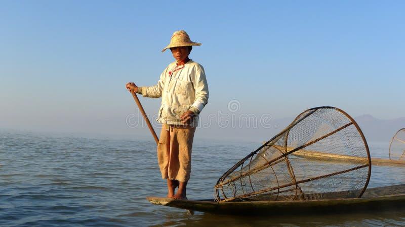 ψαράς Myanmar στοκ εικόνες με δικαίωμα ελεύθερης χρήσης