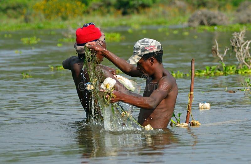 Ψαράδες, λίμνη Naivasha, Κένυα στοκ φωτογραφία με δικαίωμα ελεύθερης χρήσης