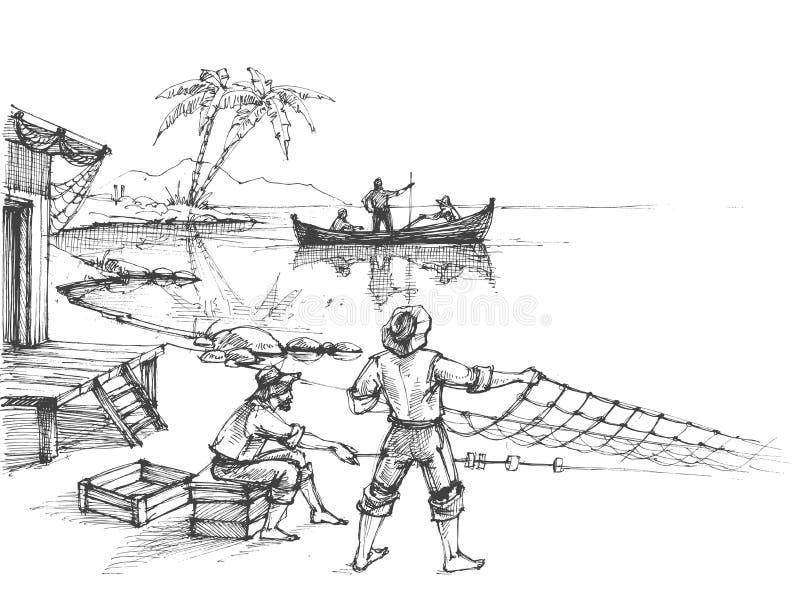 ψαράδες απεικόνιση αποθεμάτων