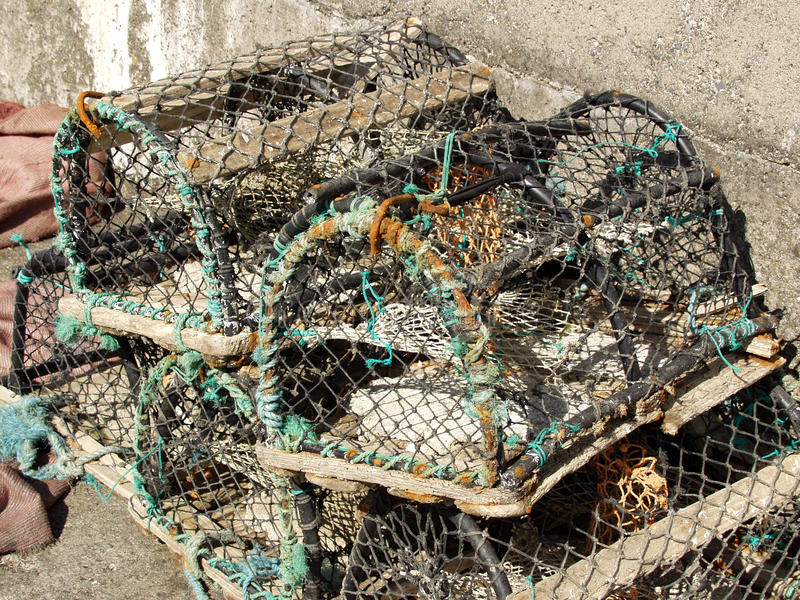 Download Ψαροκόφινο αστακών και κάποιο σχοινί Στοκ Εικόνες - εικόνα από καθαρός, καλαθιών: 13181450