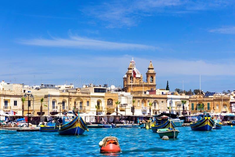 Ψαροχώρι Marsaxlokk στη Μάλτα στοκ εικόνα με δικαίωμα ελεύθερης χρήσης