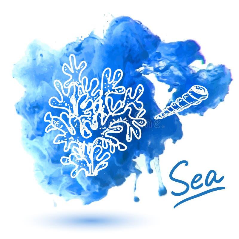 ψαλιδίζοντας απομονωμένο λευκό κοχυλιών θάλασσας μονοπατιών απεικόνιση αποθεμάτων