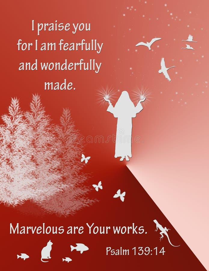 Ψαλμός 139:14 στίχων Βίβλων διανυσματική απεικόνιση