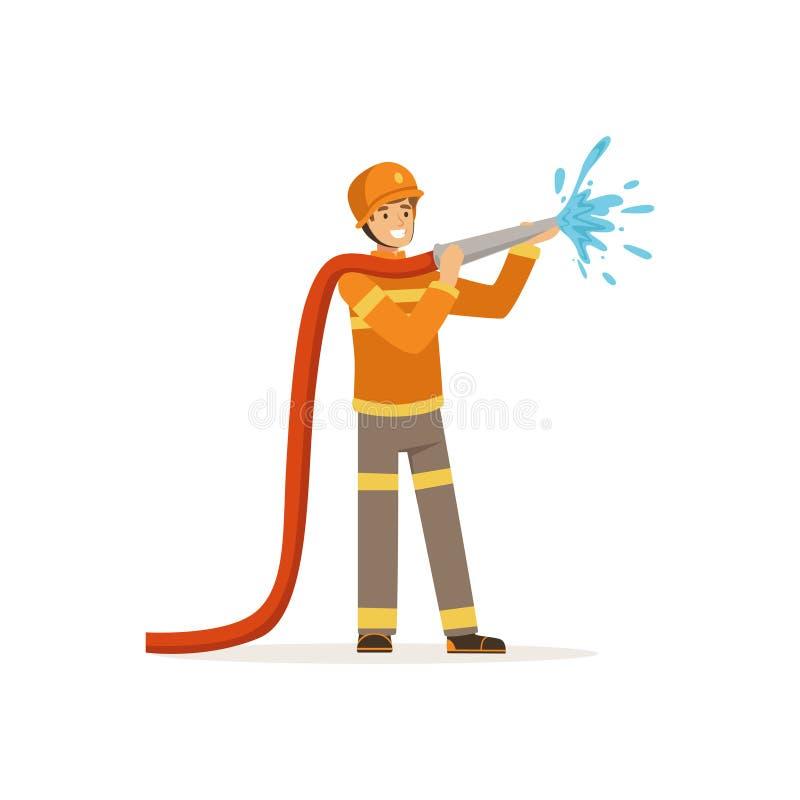 Ψεκάζοντας νερό χαρακτήρα πυροσβεστών που χρησιμοποιεί τη μάνικα, πυροσβέστης στη διανυσματική απεικόνιση εργασίας απεικόνιση αποθεμάτων