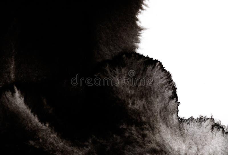 Ψεκασμοί μαύρου χρώματος διαφόρων εντάσεων που θεωρούνται σκοτεινός καπνός ή κύμα Μαύρος λεκές χωρίς σχήμα απομονωμένος σε λευκό  απεικόνιση αποθεμάτων