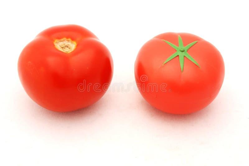 ψεύτικη πραγματική ντομάτα στοκ εικόνες