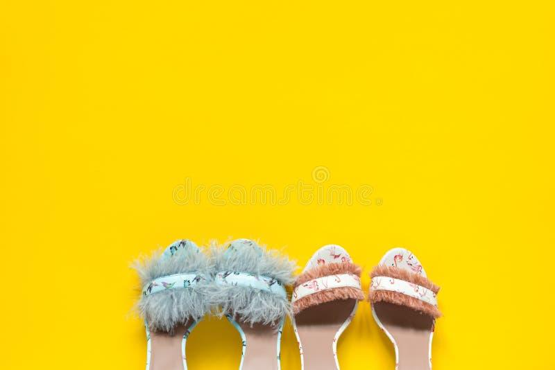 Ψηλοτάκουνα παπούτσια των θερινών γυναικών Κολίβρια και φτερά φλαμίγκο Κίτρινο υπόβαθρο εγγράφου στοκ φωτογραφία με δικαίωμα ελεύθερης χρήσης