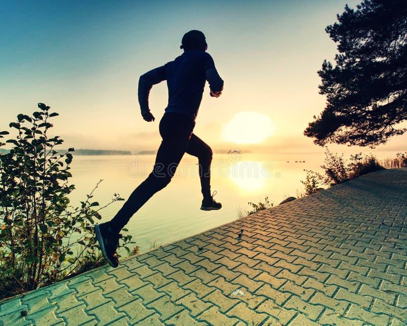Ψηλός τρέχοντας αθλητικός τύπος που φορά τα καθιερώνοντα τη μόδα τρέχοντας παπούτσια και αθλητικά τα ενδύματα στοκ εικόνες με δικαίωμα ελεύθερης χρήσης