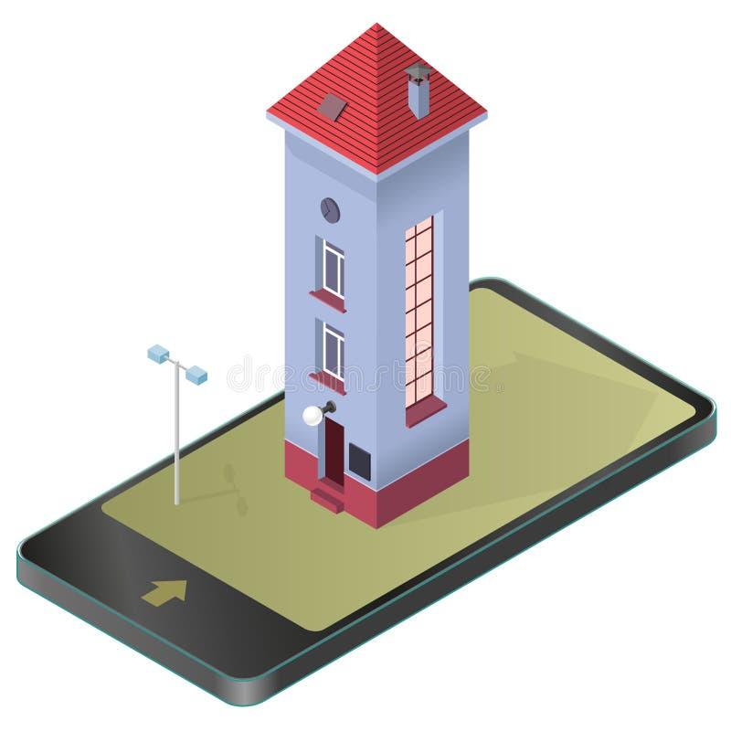 Ψηλό λεπτό σπίτι Isometric μπλε κτήριο, κόκκινη στέγη στο κινητό τηλέφωνο Αστεία αρχιτεκτονική απεικόνιση αποθεμάτων