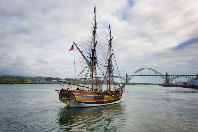 Ψηλό σκάφος κυρία Washington στο Νιούπορτ, Όρεγκον στοκ φωτογραφίες