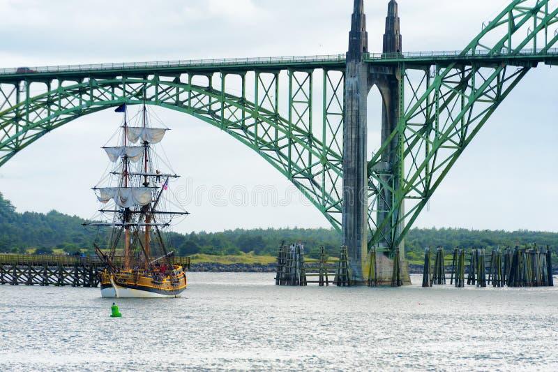 Ψηλό σκάφος κυρία Washington στο Νιούπορτ, Όρεγκον στοκ εικόνα