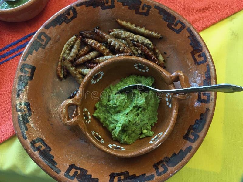 Ψημένα σκουλήκια Gusanos de Maguey maguey σε Tlaxco, Tlaxcala στοκ φωτογραφία