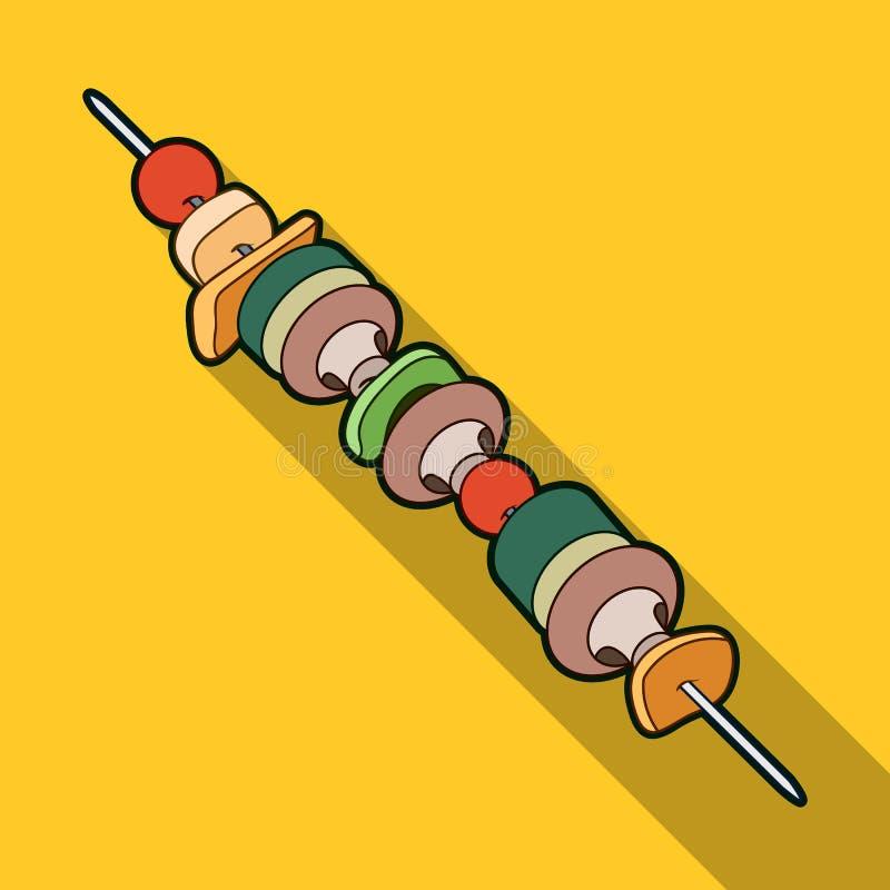 Ψημένα στη σχάρα λαχανικά σε ένα οβελίδιο Χορτοφάγα γεύματα για να μαγειρεψει υπαίθρια Χορτοφάγο ενιαίο εικονίδιο πιάτων στο επίπ ελεύθερη απεικόνιση δικαιώματος