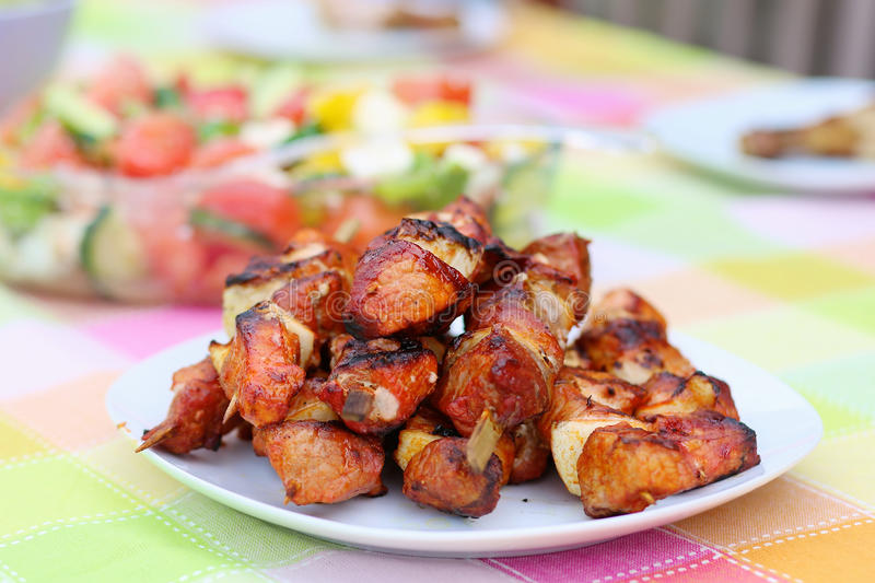 Ψημένα στη σχάρα κρέας και λαχανικά στον πίνακα πικ-νίκ στοκ εικόνα