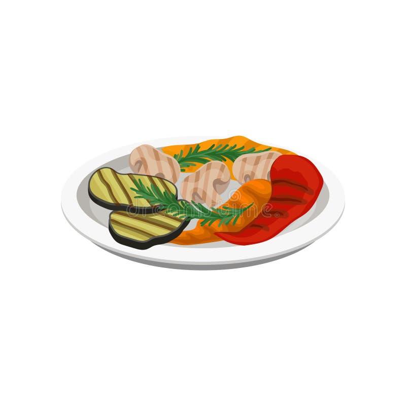 Ψημένα στη σχάρα λαχανικά σε ένα πιάτο, χορτοφάγος διανυσματική απεικόνιση τροφίμων σε ένα άσπρο υπόβαθρο διανυσματική απεικόνιση