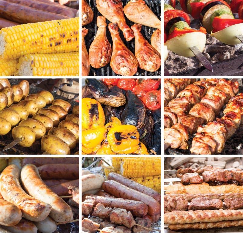 Ψημένα στη σχάρα τρόφιμα: κρέας, λαχανικά, λουκάνικα στοκ φωτογραφία με δικαίωμα ελεύθερης χρήσης