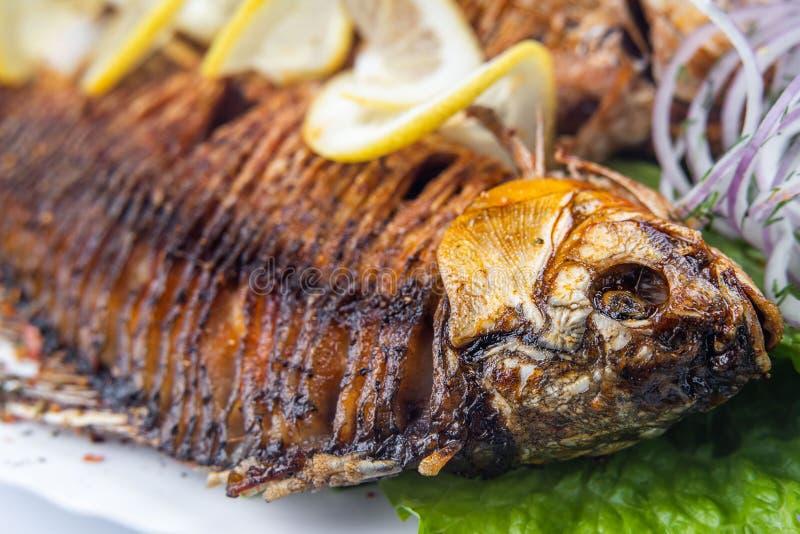 Ψημένα στη σχάρα ψάρια κυπρίνων στο άσπρο πιάτο πέρα από το λευκό στοκ φωτογραφίες
