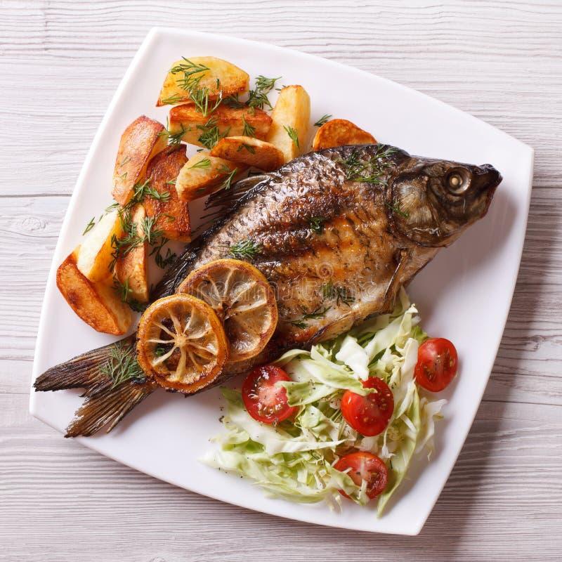 Ψημένα στη σχάρα ψάρια με τις τηγανισμένες πατάτες και τη τοπ άποψη σαλάτας, κινηματογράφηση σε πρώτο πλάνο στοκ φωτογραφία