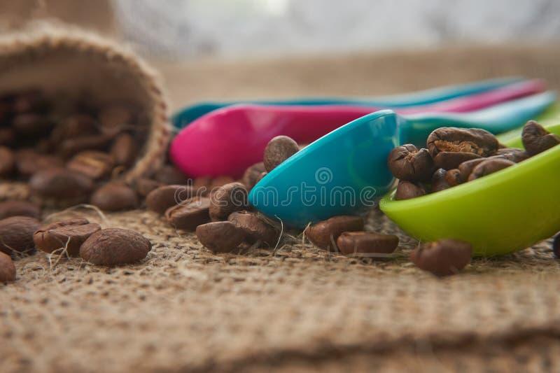 Ψημένα φασόλια καφέ, μετρώντας κουτάλια δόσεων στο σάκο γιούτας στοκ εικόνα