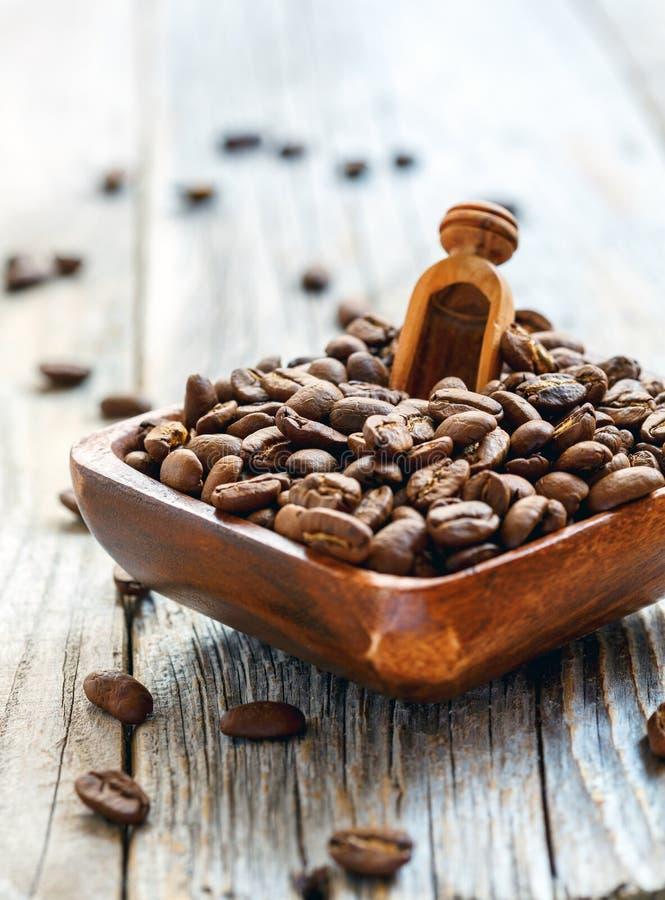 Ψημένα φασόλια καφέ και ξύλινη σέσουλα σε ένα κύπελλο στοκ εικόνα