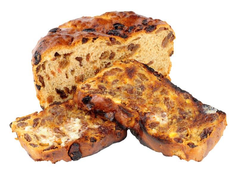 Ψημένες ιρλανδικές φέτες ψωμιού Barmbrack γλυκές με το βούτυρο στοκ εικόνες