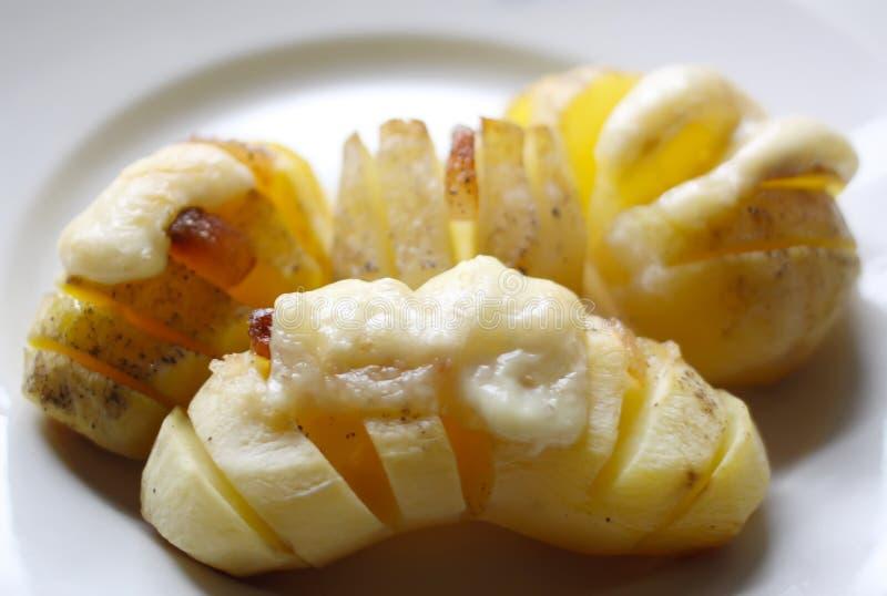 Ψημένες πατάτες με το κρέας και το τυρί στοκ φωτογραφία με δικαίωμα ελεύθερης χρήσης