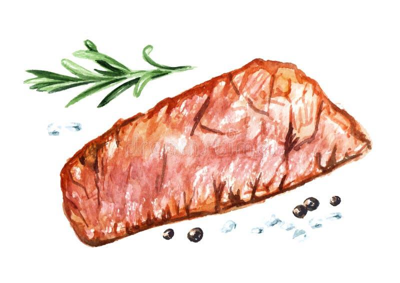 Ψημένες στη σχάρα μπριζόλες βόειου κρέατος με τα καρυκεύματα, τοπ άποψη Συρμένη χέρι απεικόνιση Watercolor, που απομονώνεται στο  διανυσματική απεικόνιση