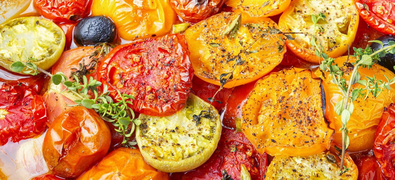 Ψημένες φούρνος ντομάτες στοκ εικόνες με δικαίωμα ελεύθερης χρήσης