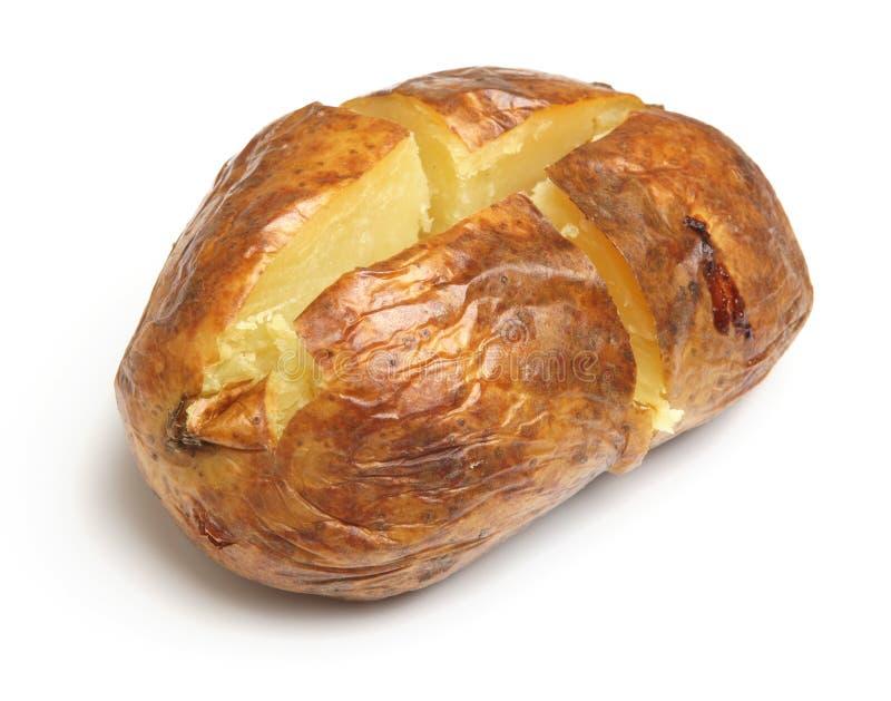 Ψημένη ή πατάτα σακακιών που απομονώνεται στο λευκό στοκ εικόνα